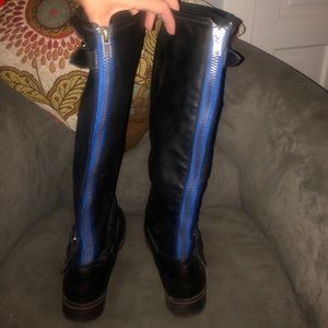 Just Fab black boots with blue accent